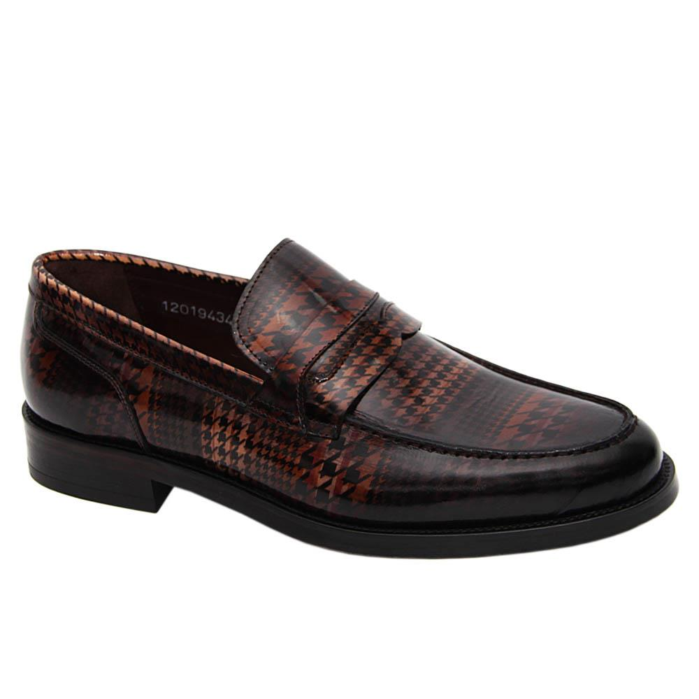Coffee DigiPrint Patterned Italian Leather Penny Loafers