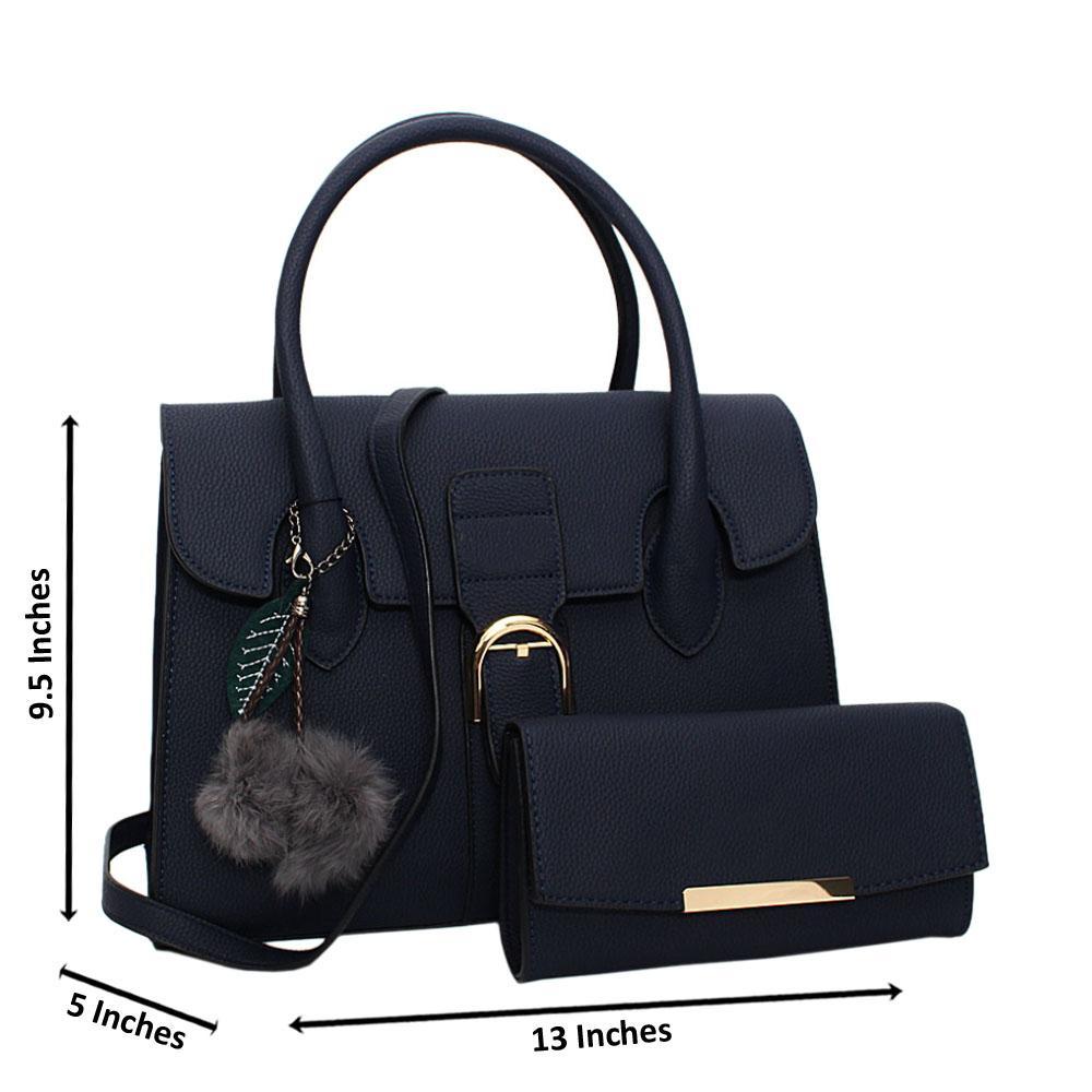 Navy Natalia Leather Medium Tote Handbag