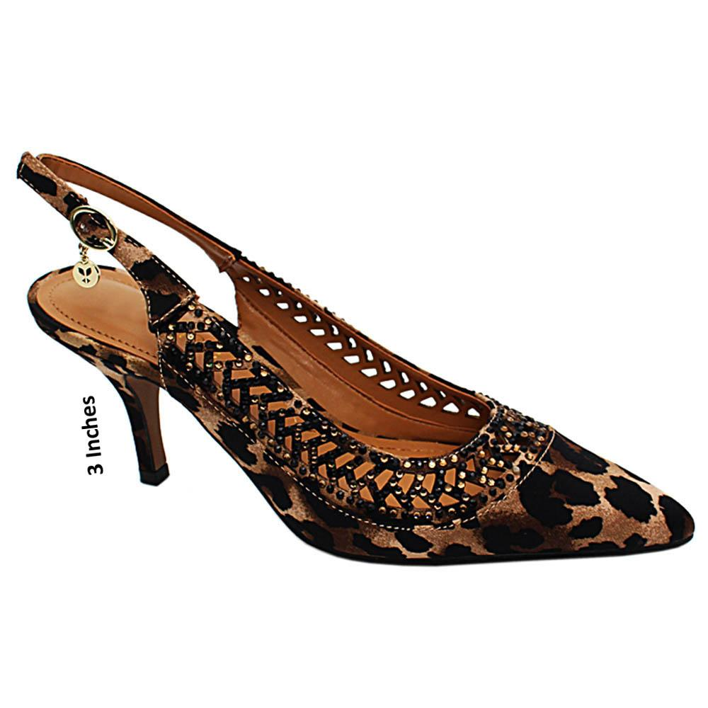 Brown Olivia Studded Leopard Print Slingback High Heel Pumps