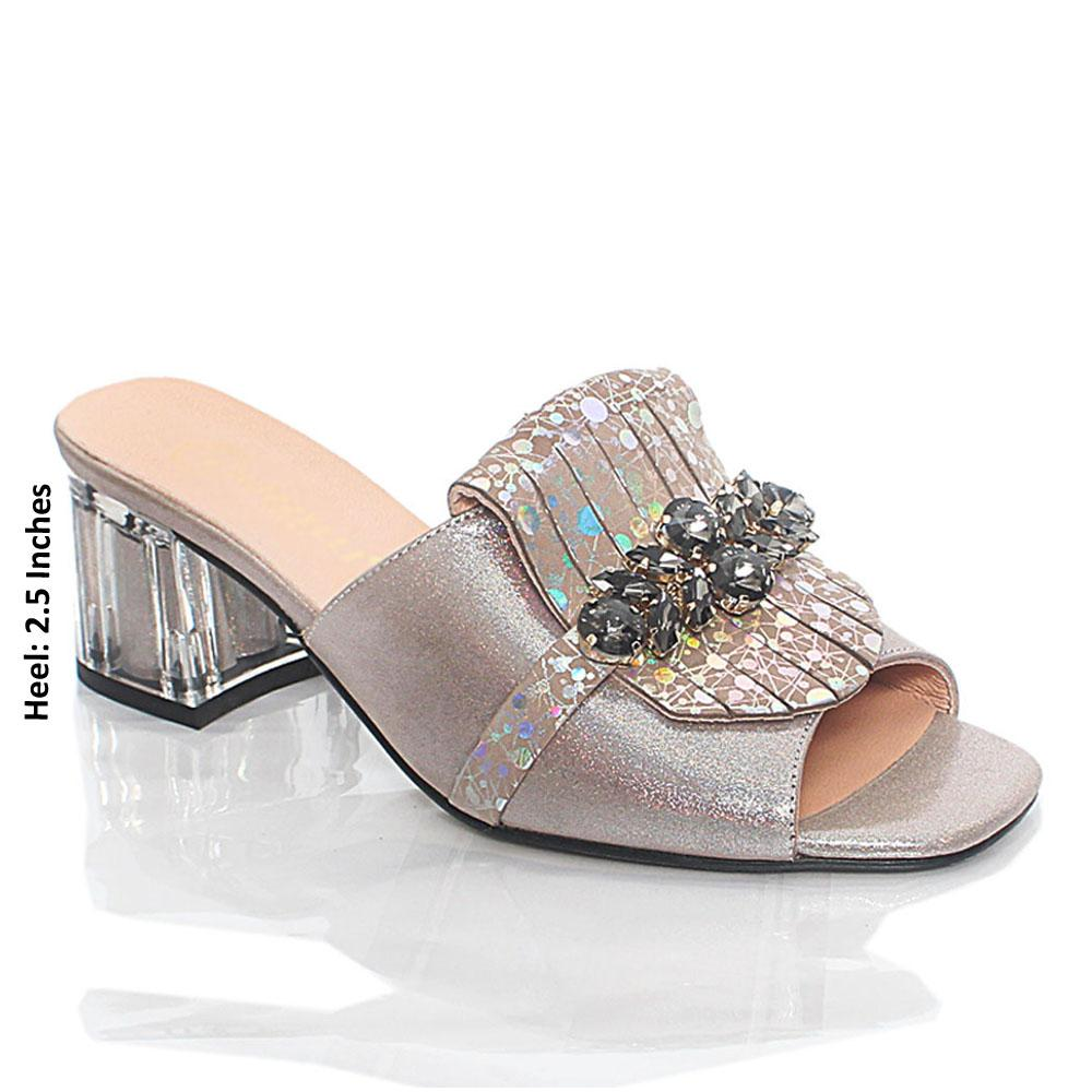 Gray Nelle Shiny Italian Leather Mule