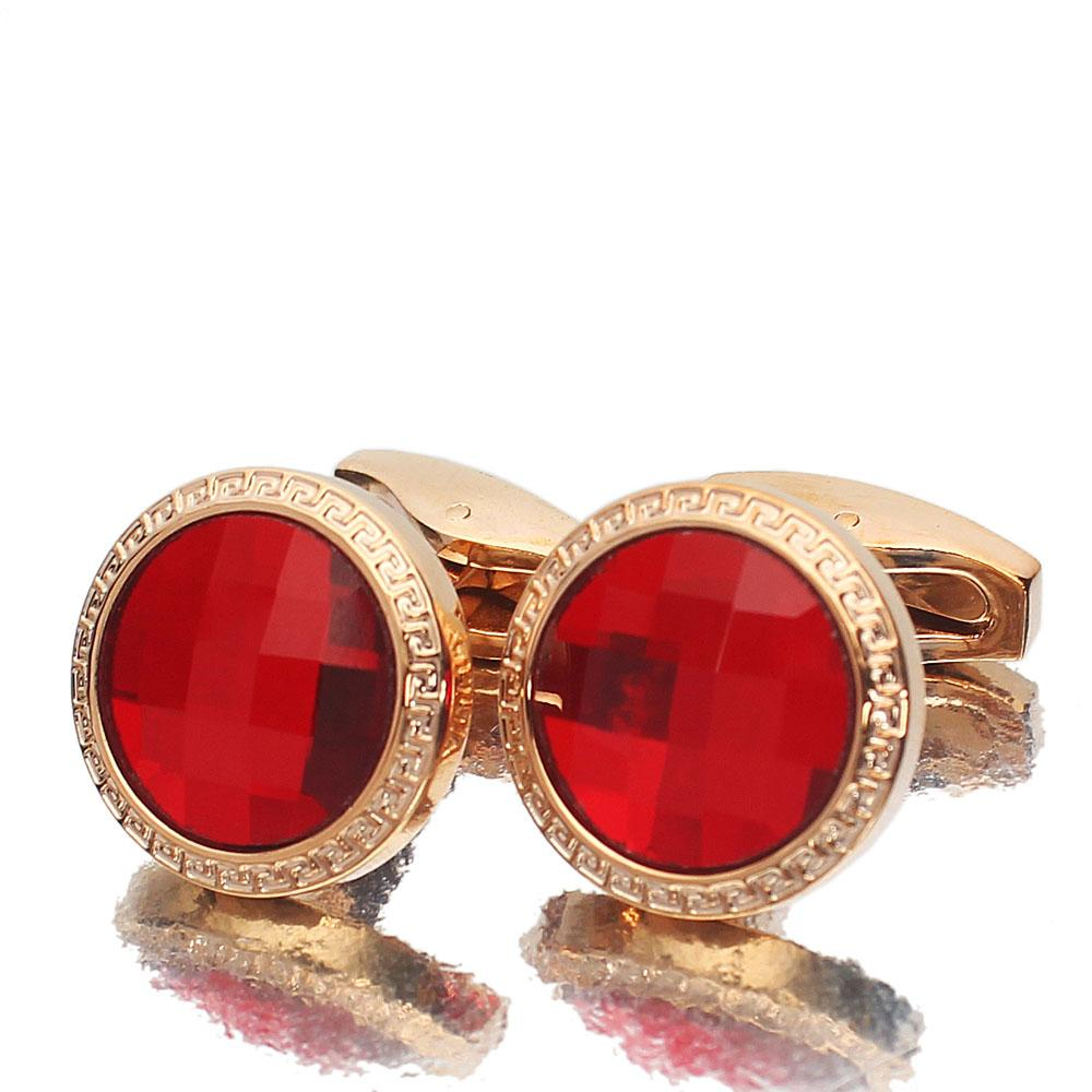 Rose Gold Red Ceramic Stainless Steel Cufflinks
