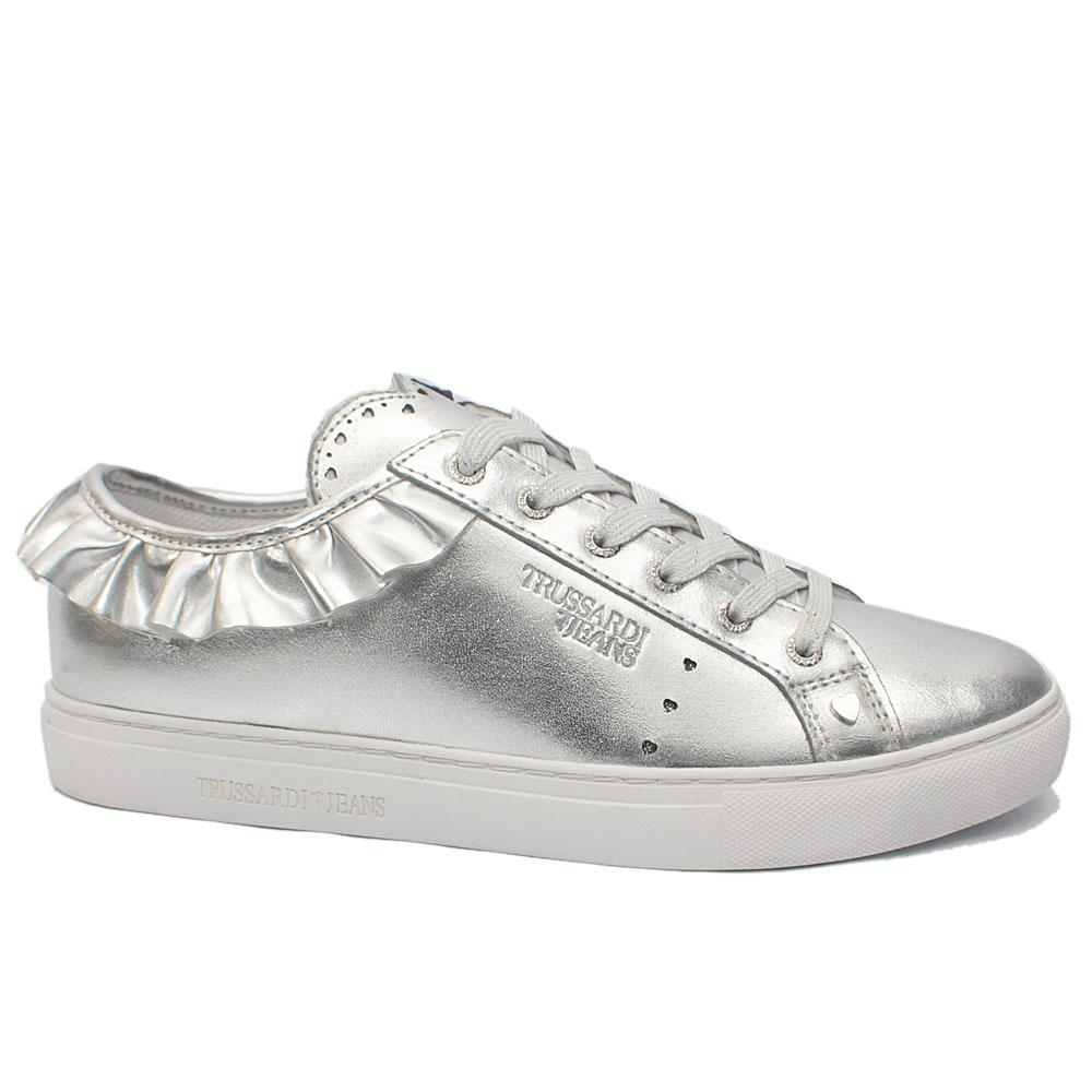 Silver Glittering Leather Volant Sneakers