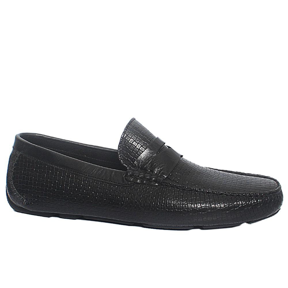 Black Woven Style Italian Leather Driver Shoe