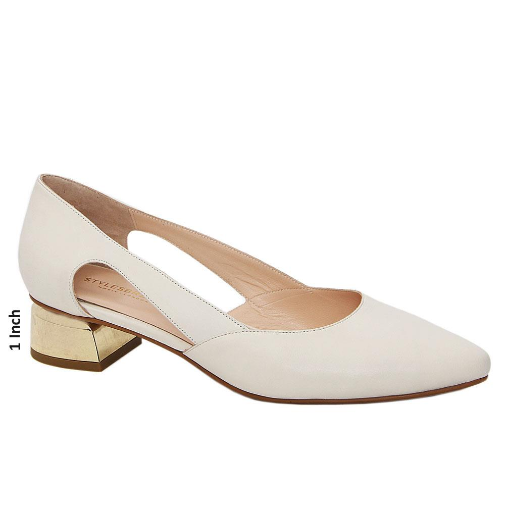 Cream Leticia Cut-Out Tuscany Leather Low Heel Pumps