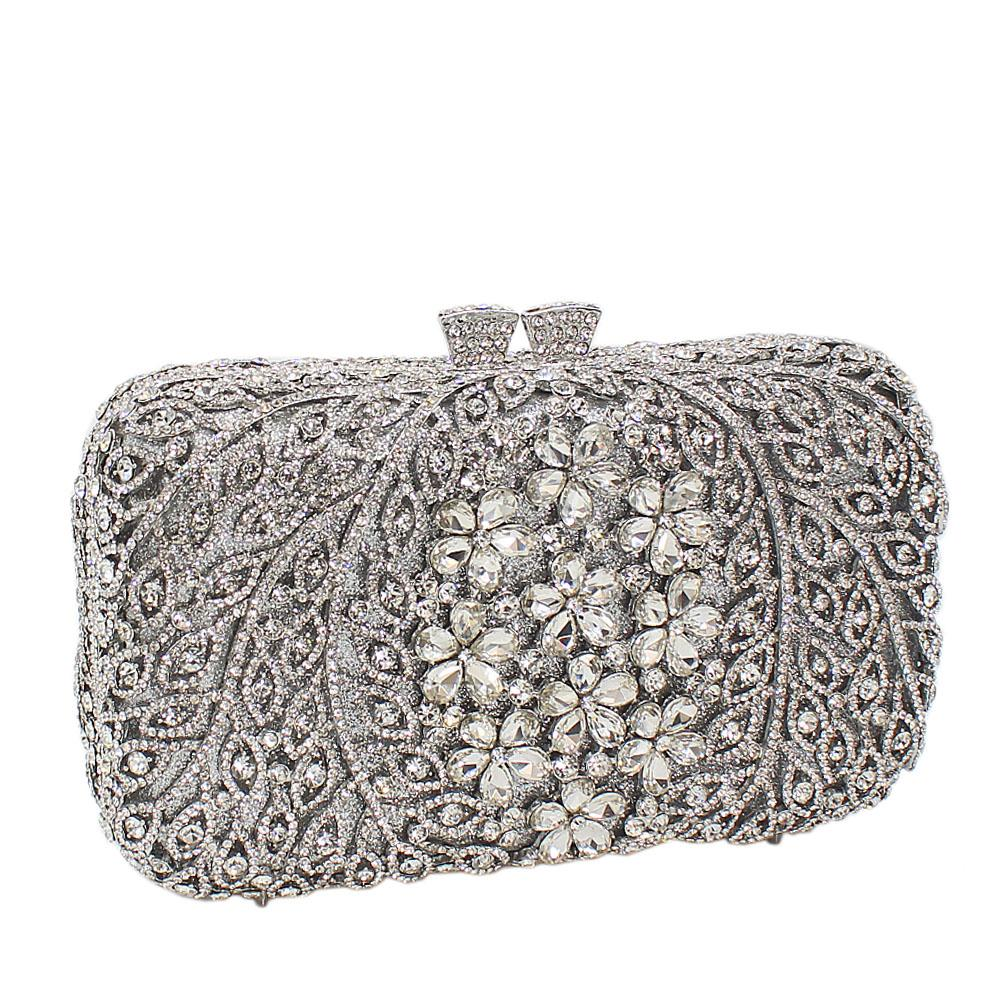 Silver Flora Diamante Crystals Clutch Purse