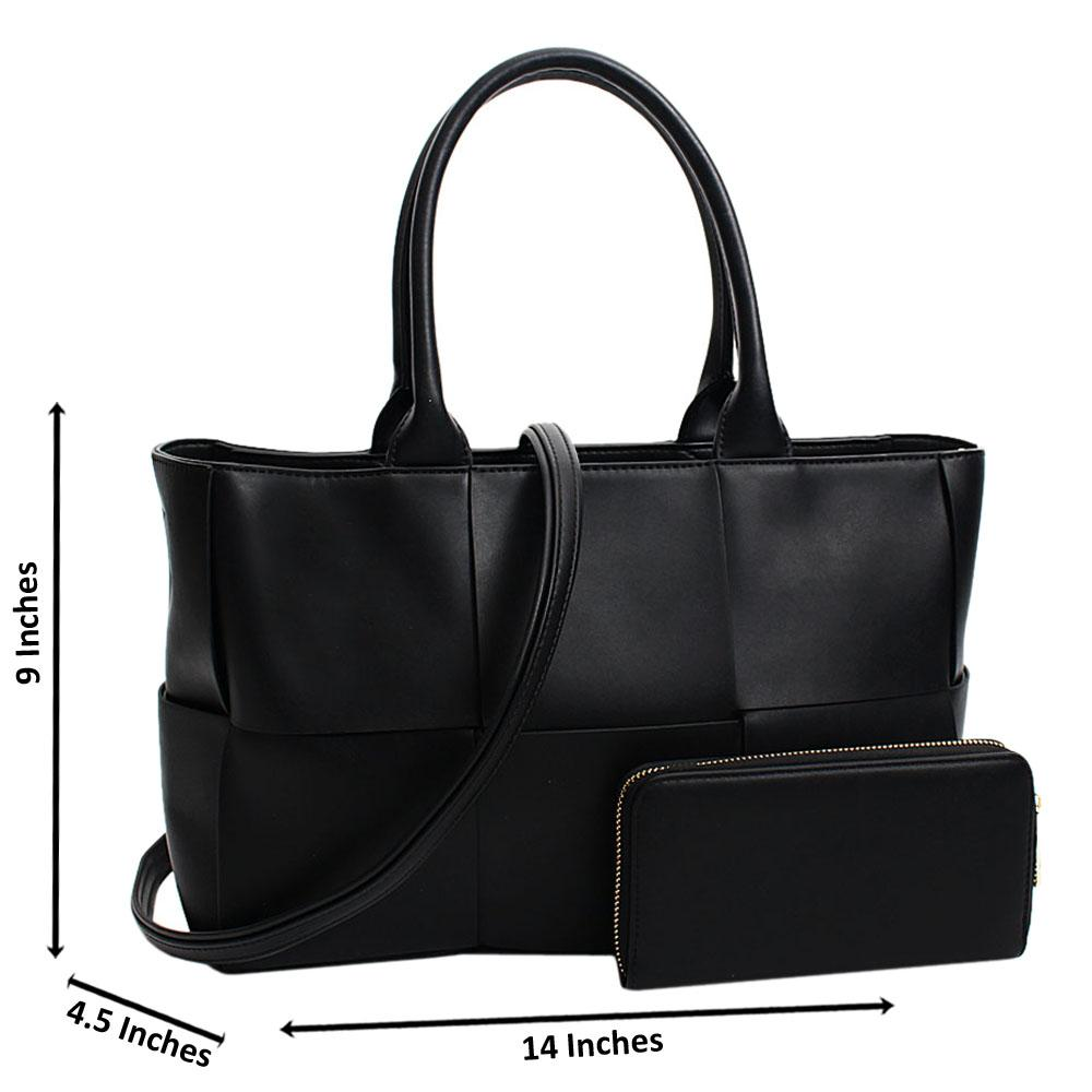 Black Santina Leather Large Tote Handbag