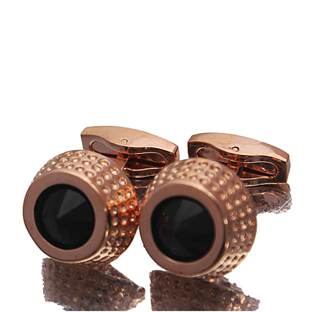Rose Gold Black Stone Stainless Steel Cufflinks