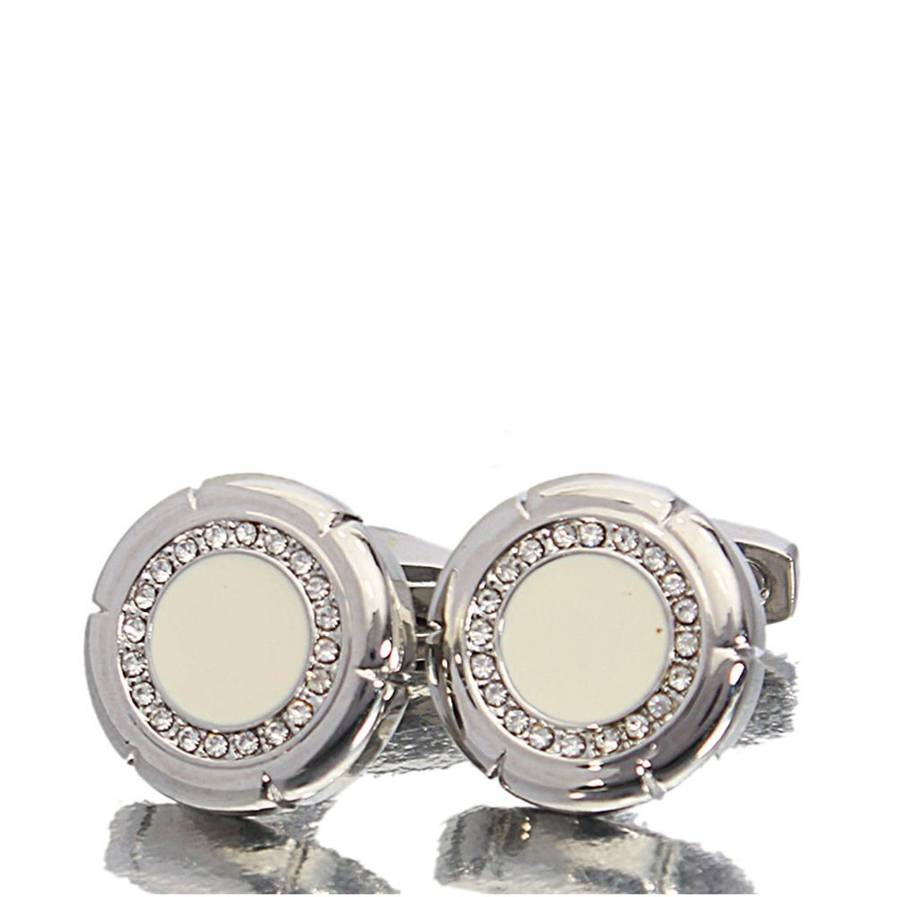 Black White Etched Studded Stainless Steel Cufflinks