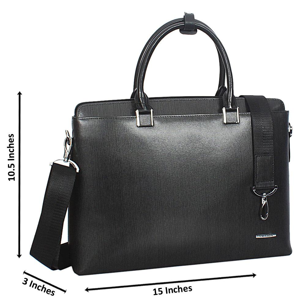 Gray Black Cowhide Leather Briefcase