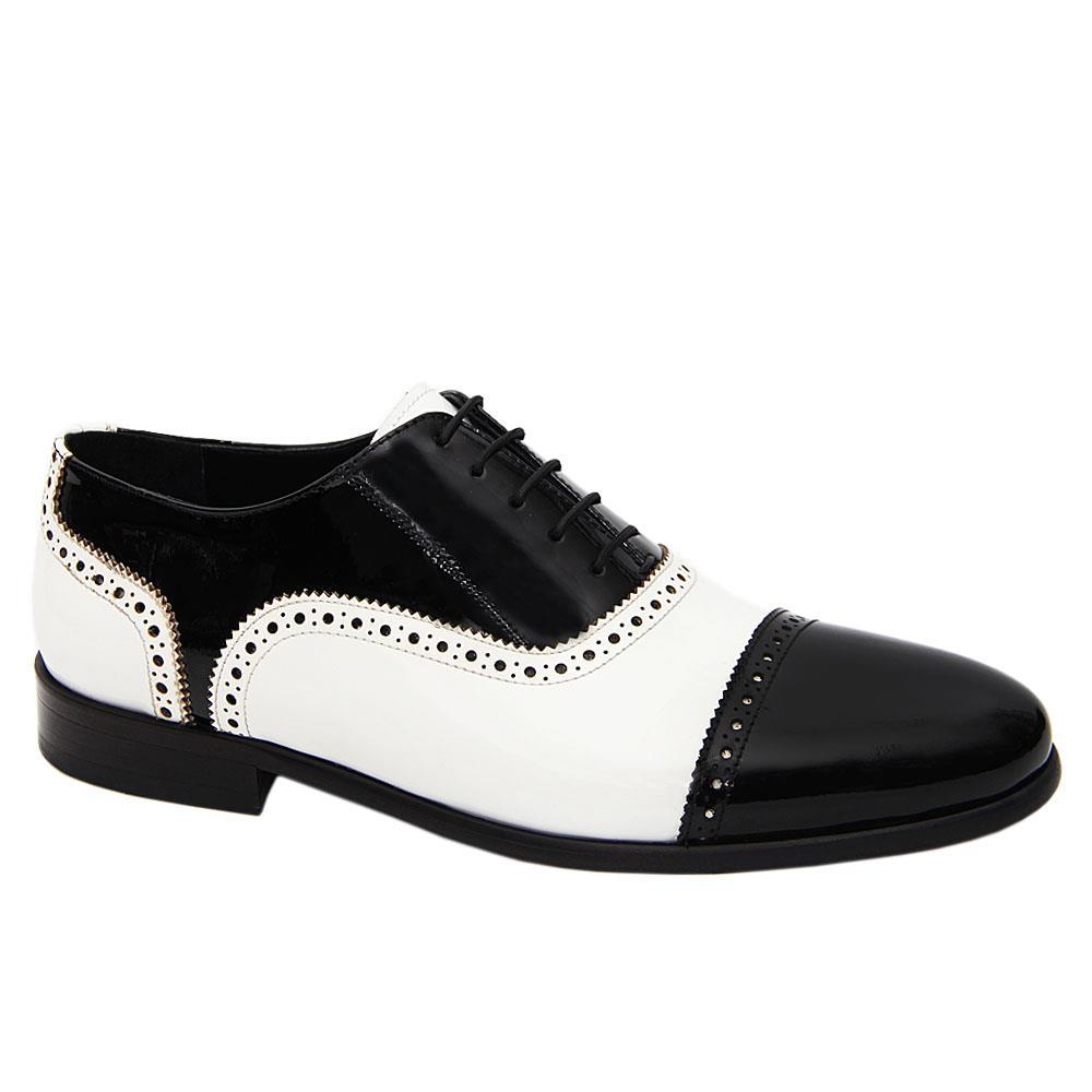Black White Santo Patent Italian Leather Oxford Shoe