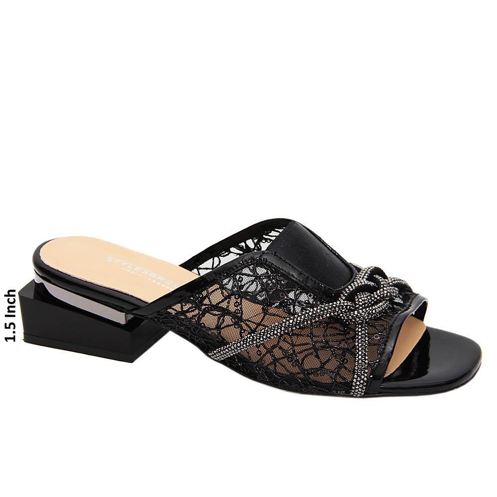Black Leticia Studded Netty Tuscany Leather Mid Heel Mule