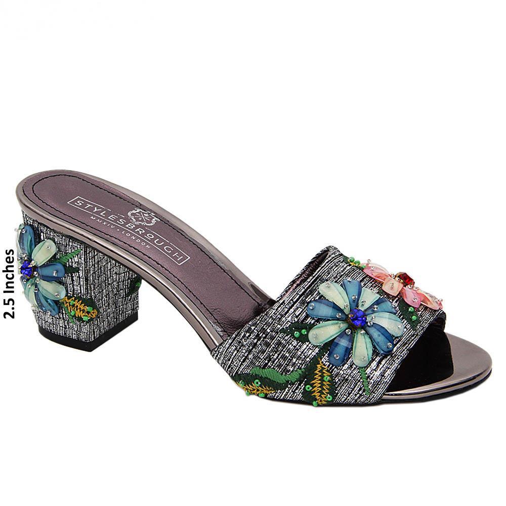 Gray Princess Diana Pearl Italian Leather Mid Heel Mule