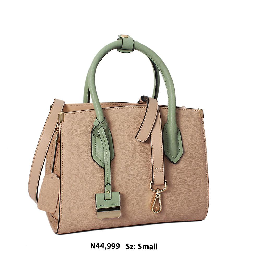 Nicole Peach Green Cowhide Leather Mini Tote Handbag