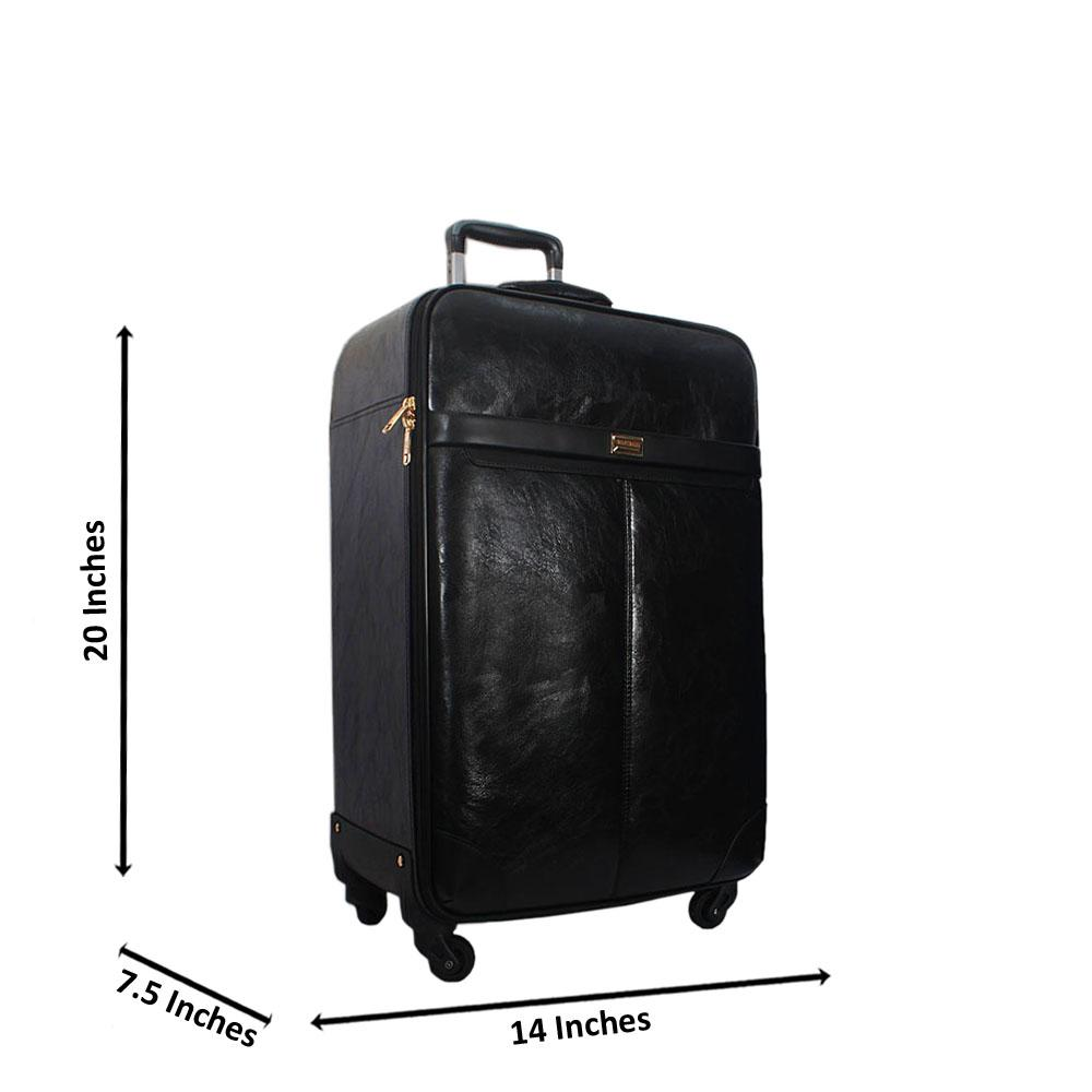 Black 20 Inch Smooth Leather Small Hand Luggage