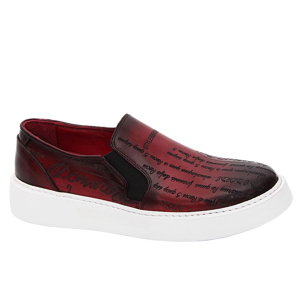 Wine Julio Caesar Italian Leather Slip-On Sneakers