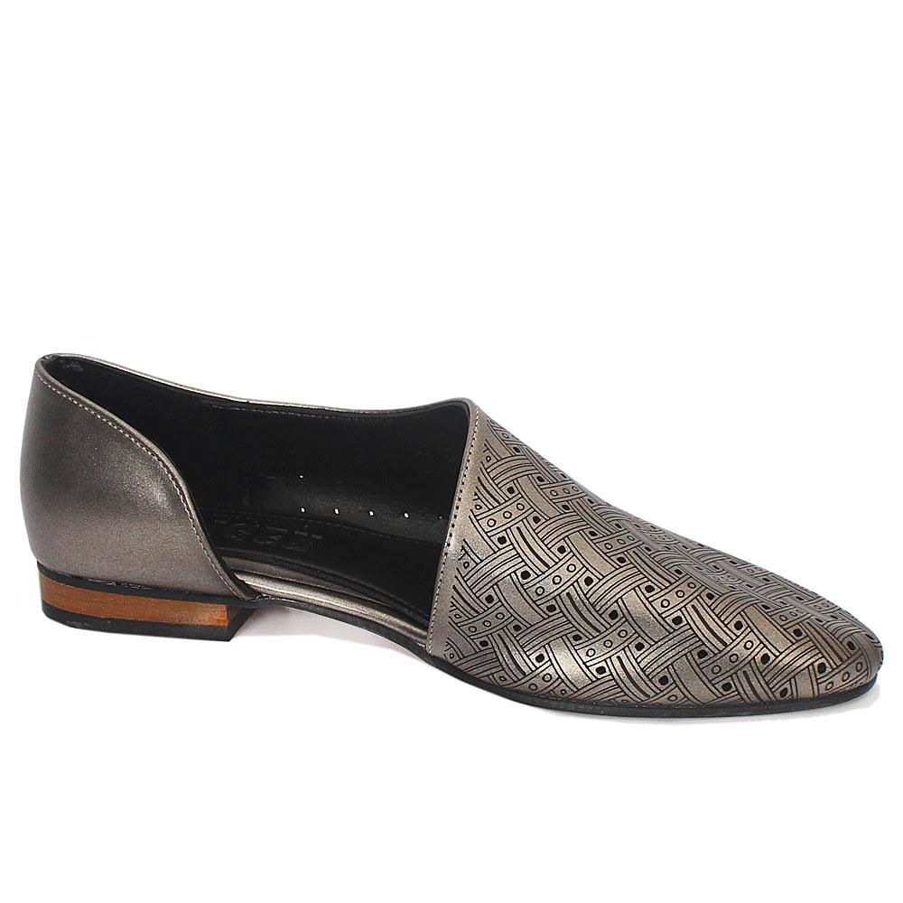 Gray Perforated Leather Ladies Flat Shoe