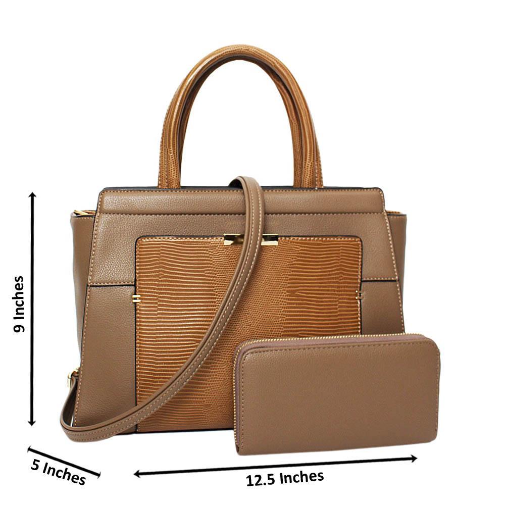 Khaki Kimberly Mix Leather Medium Tote Handbag