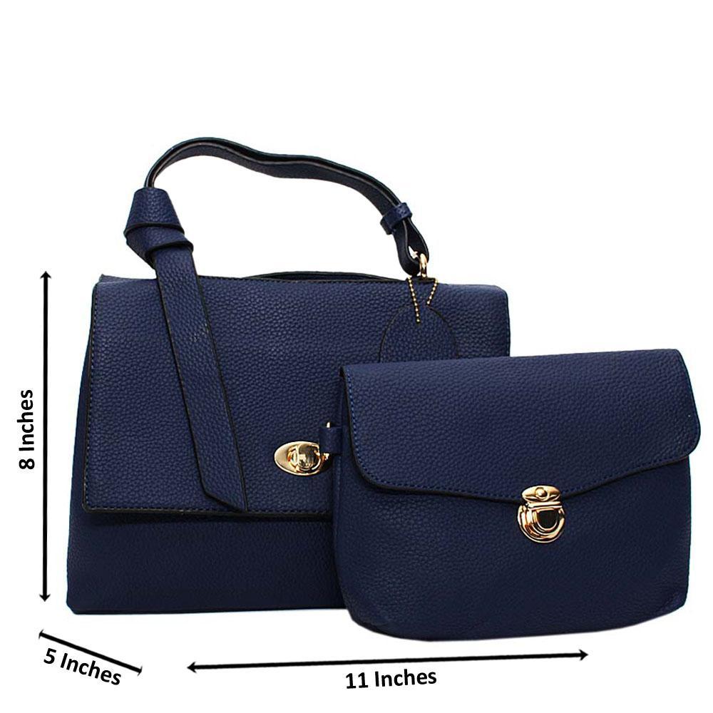 Navy Angelina Leather Medium Top Handle Handbag