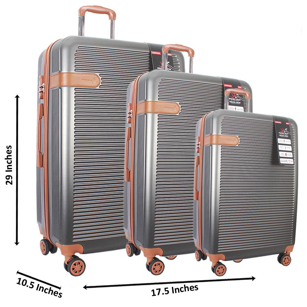 Grey 29 inch Wt 25 and 21 Inch 3 in 1 ABS Shell Luggage Set Wt TSA Lock