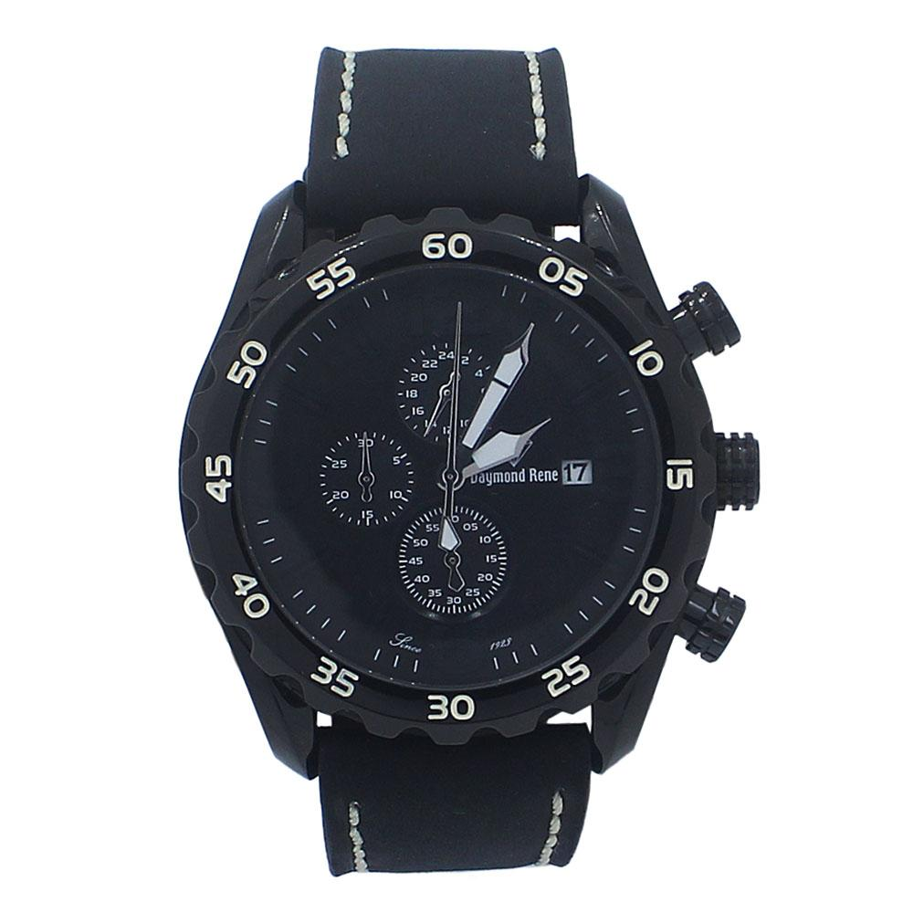 Black Leather Chronograph Watch
