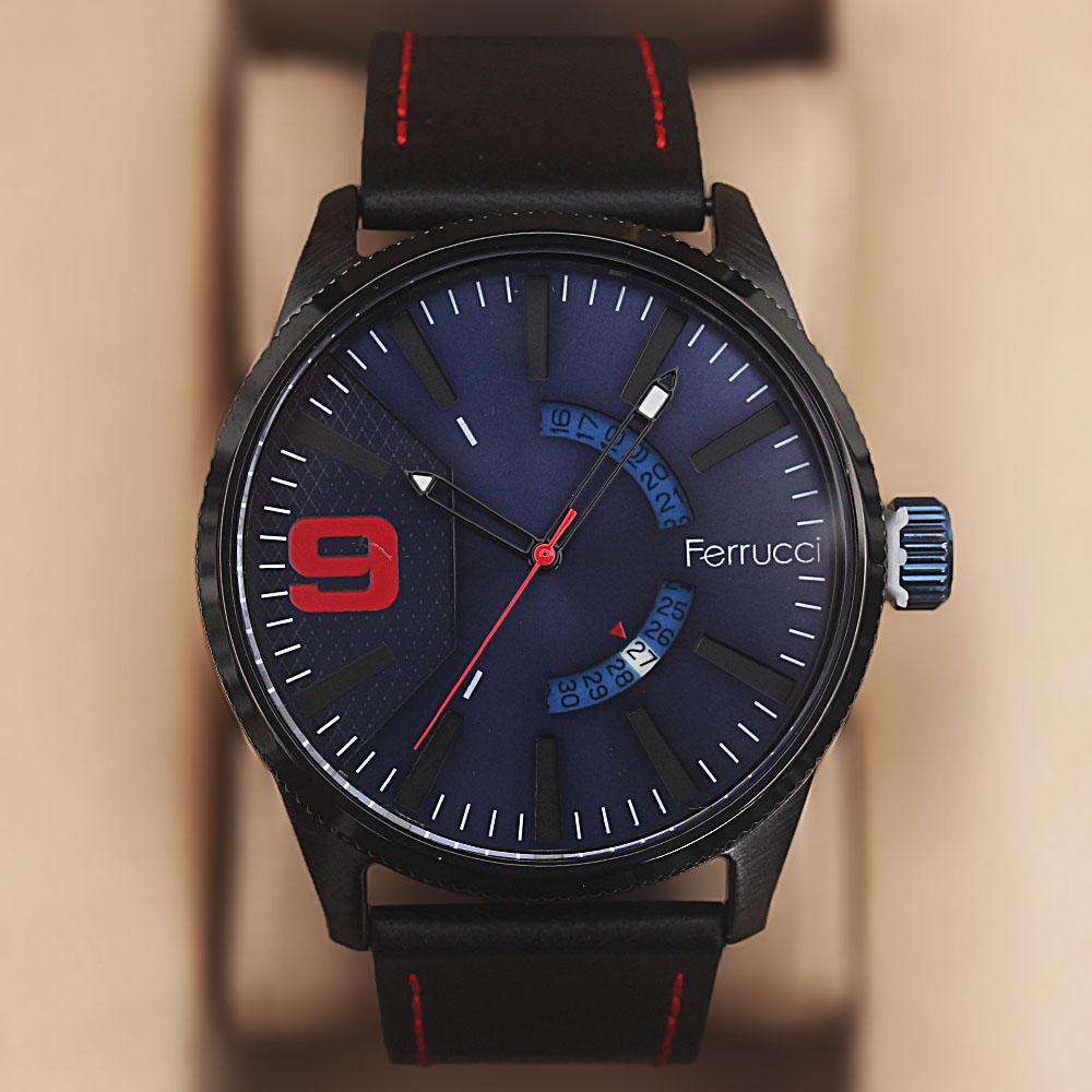 Ferrucci Etched Black Leather Watch