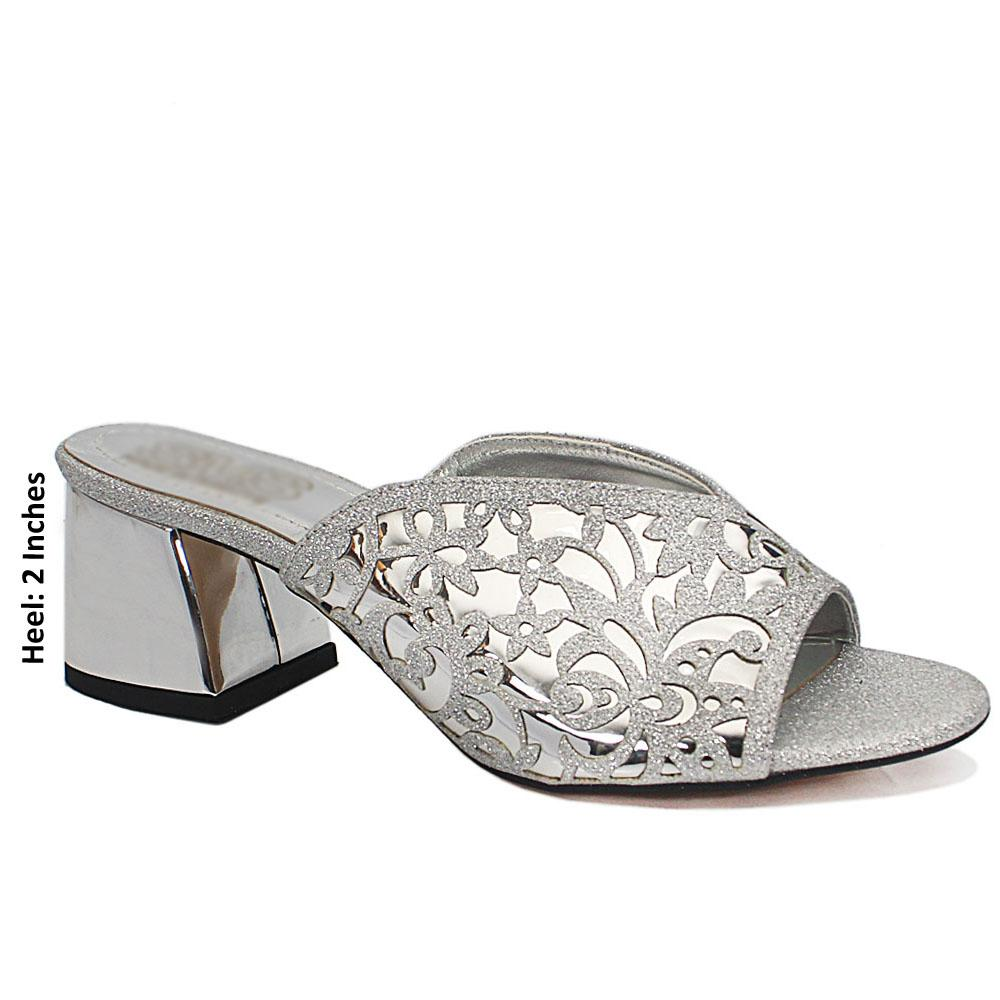 Silver Floral Shimmering Leather Mule