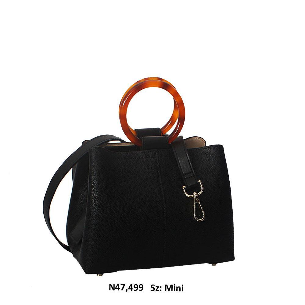 Ivy Black Cowhide Leather Ceramics Handle Mini Tote Handbag