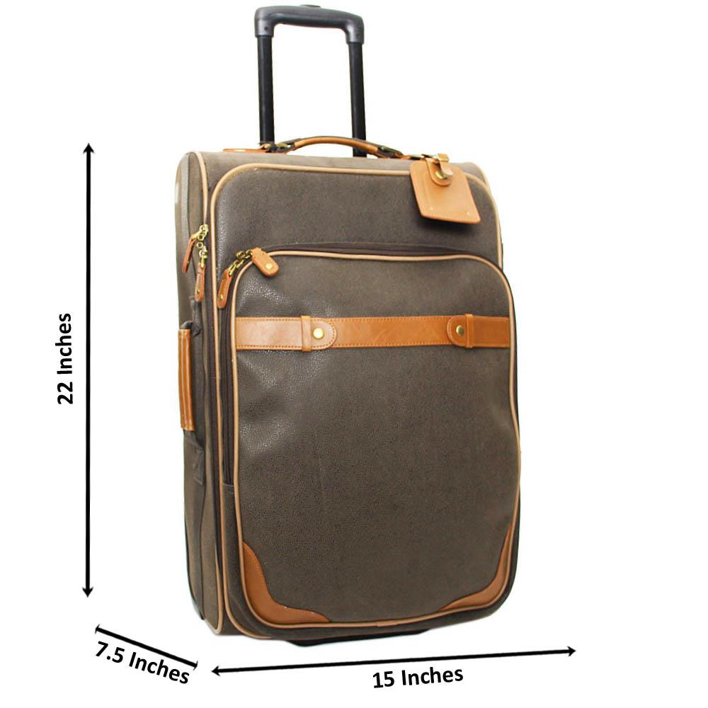 Desert Green Brown Leather 22 Inch Carry-On Luggage