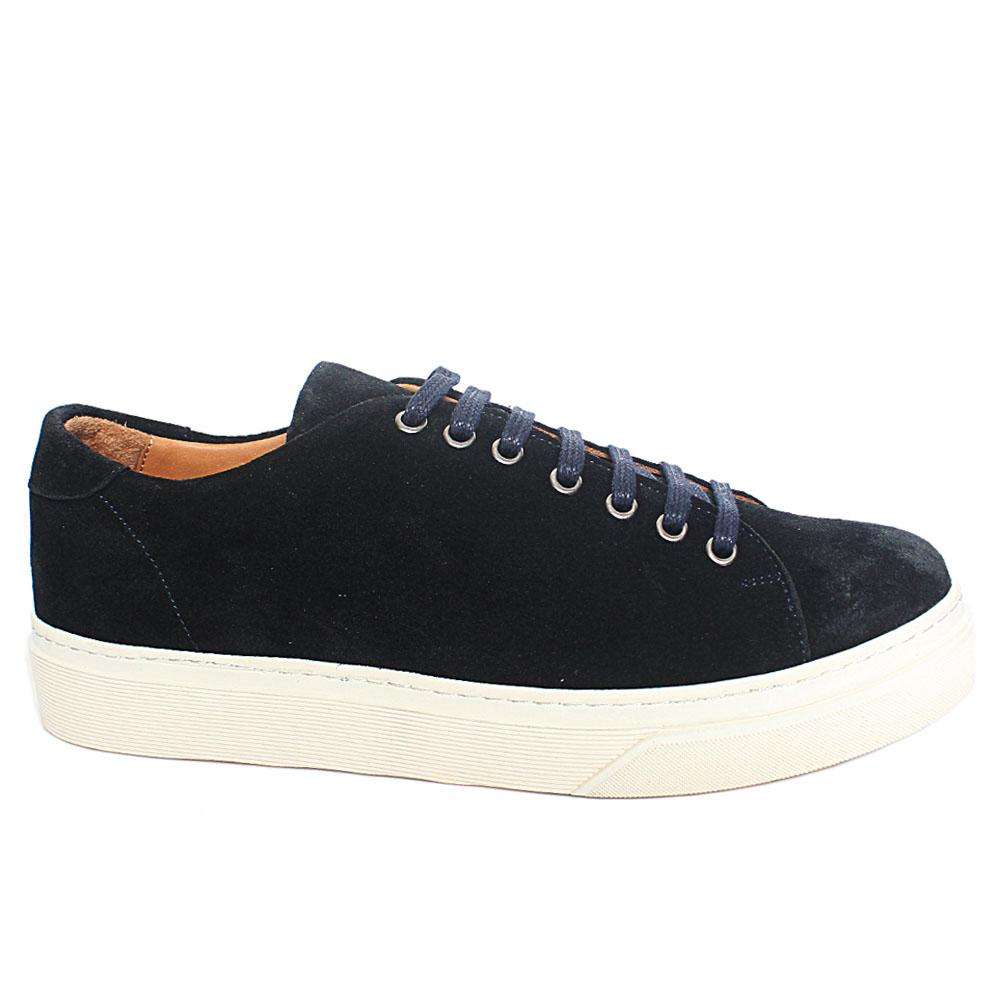 Navy Santi Suede Leather Sneakers