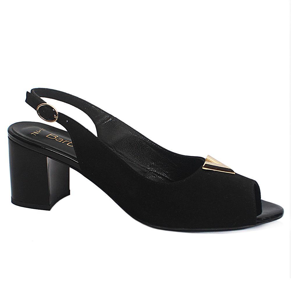 Black Cipria Suede Leather Slingback Sandal