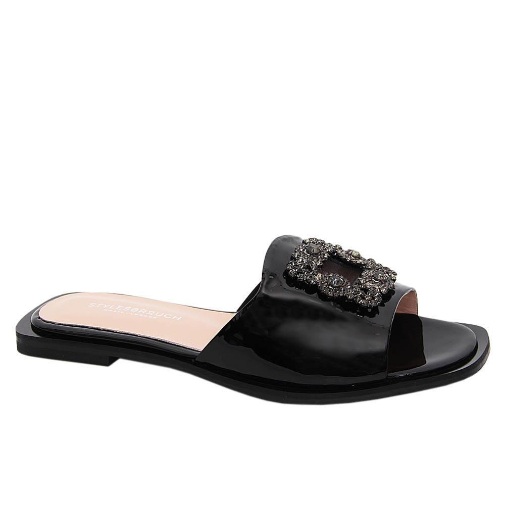 Black Nicole Tuscany Patent Leather Women Flat Slippers