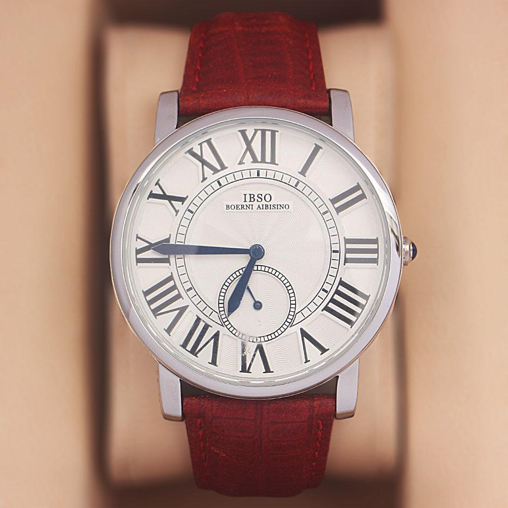 Red Etched Leather Classic Watch
