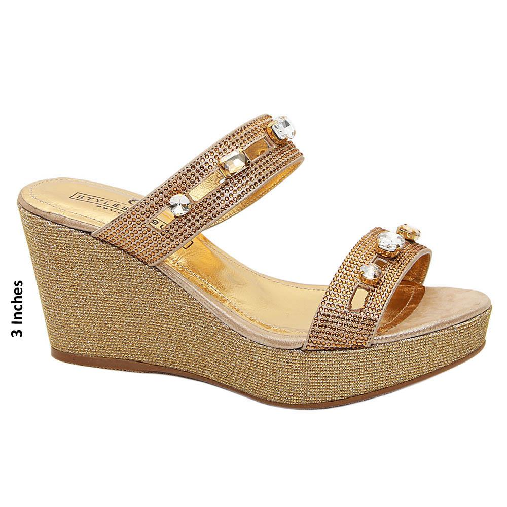 Gold Daisy crystals Studded Italian Leather Wedge
