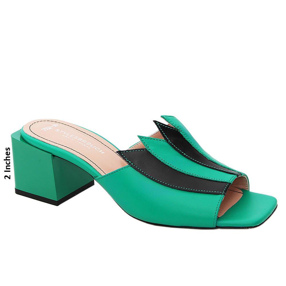 Green Esmeralda Tuscany Leather Mid Heel Mule