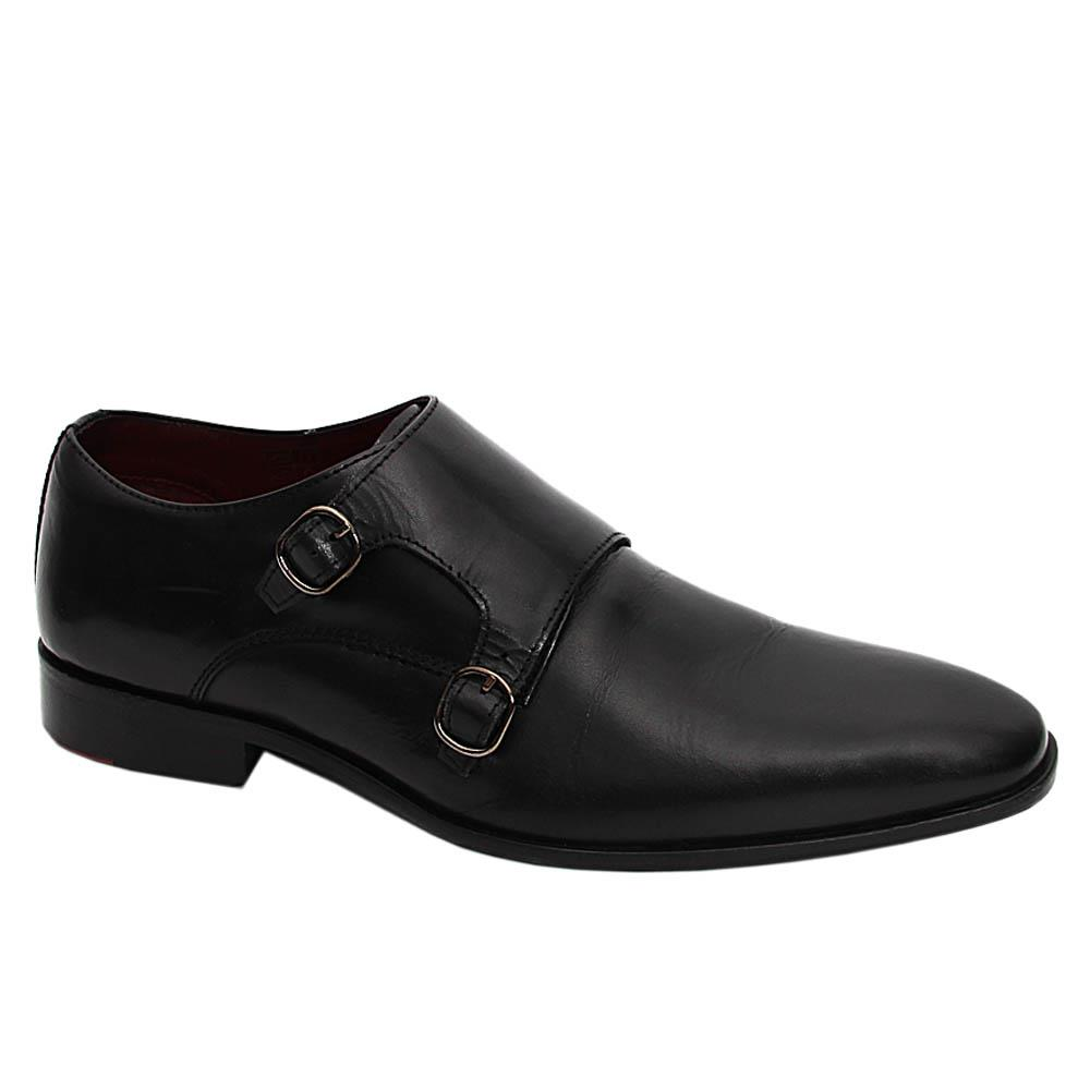 K Geiger Black Eric Arthur Leather Monk Strap Shoe