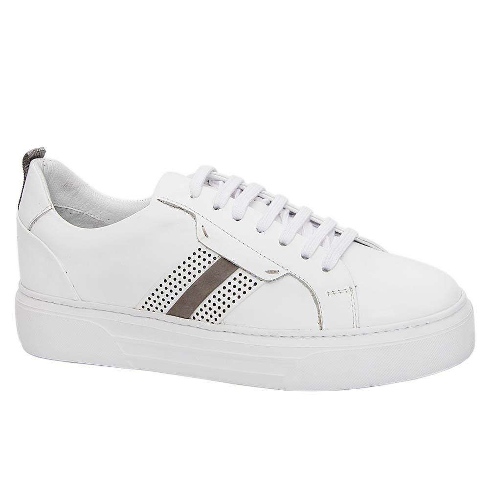 White Eduardo Italian Leather Sneakers