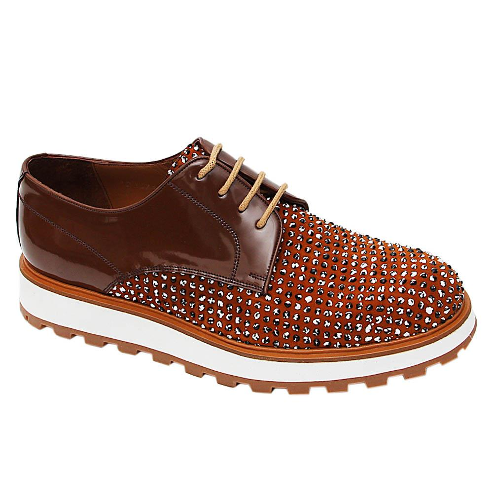 Brown Xaiver Pearl Studded Italian Leather Derby Shoes