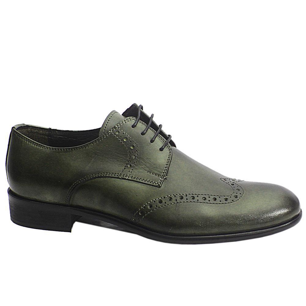 Blackish Gray Grigio Italia Leather Men Shoe