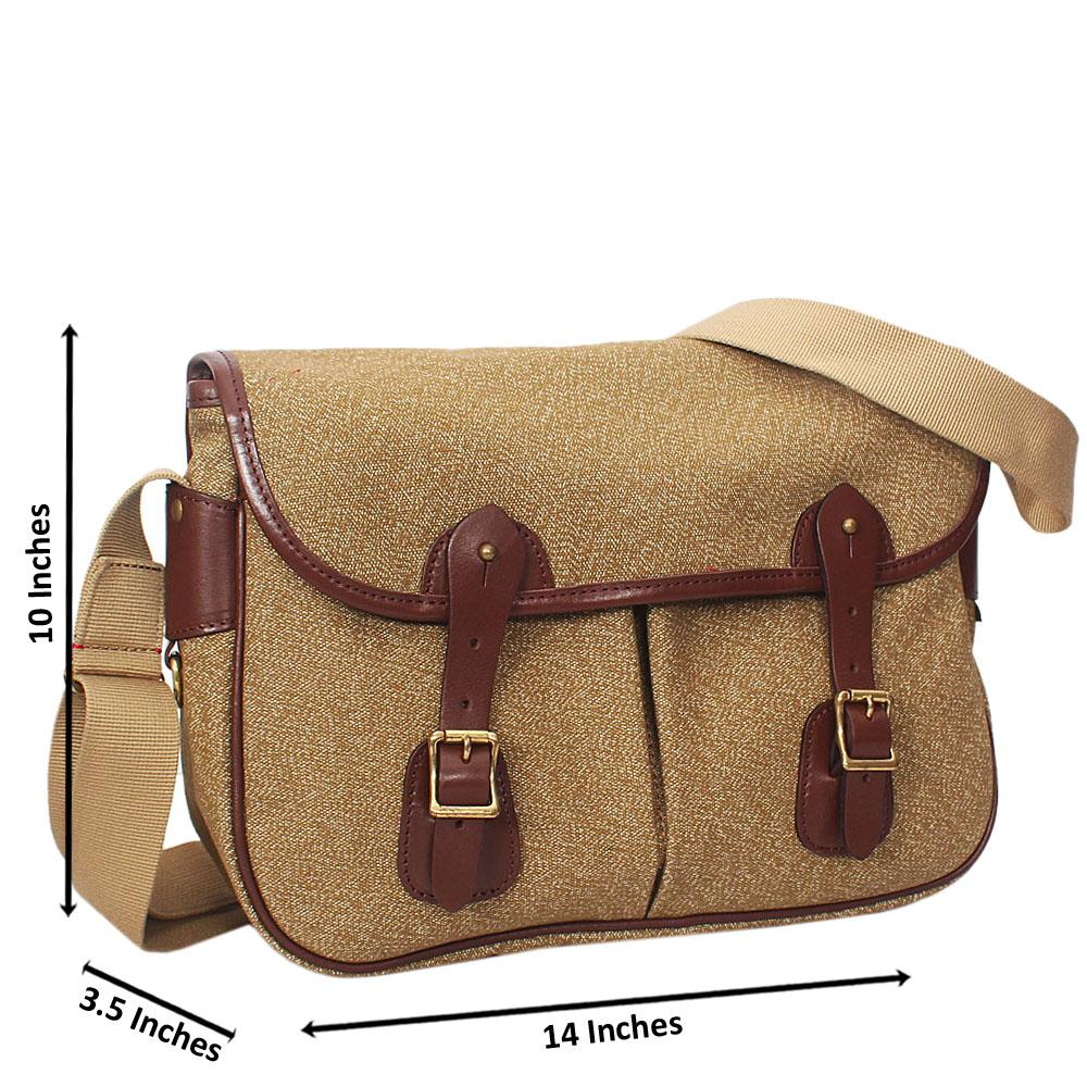 Brown Mix Water Proof Khaki Small Messenger Bag