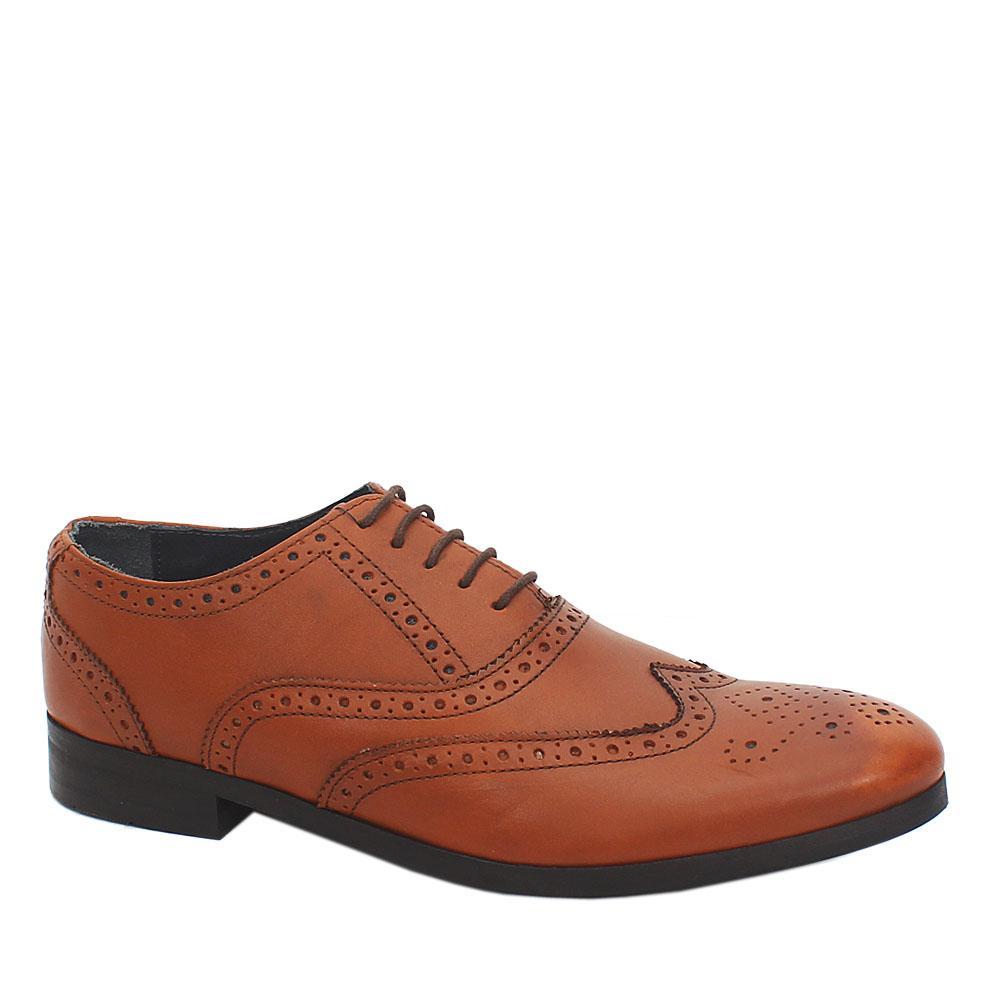 M&S Luxury Brown Leather Laceup Men Shoe Sz 42