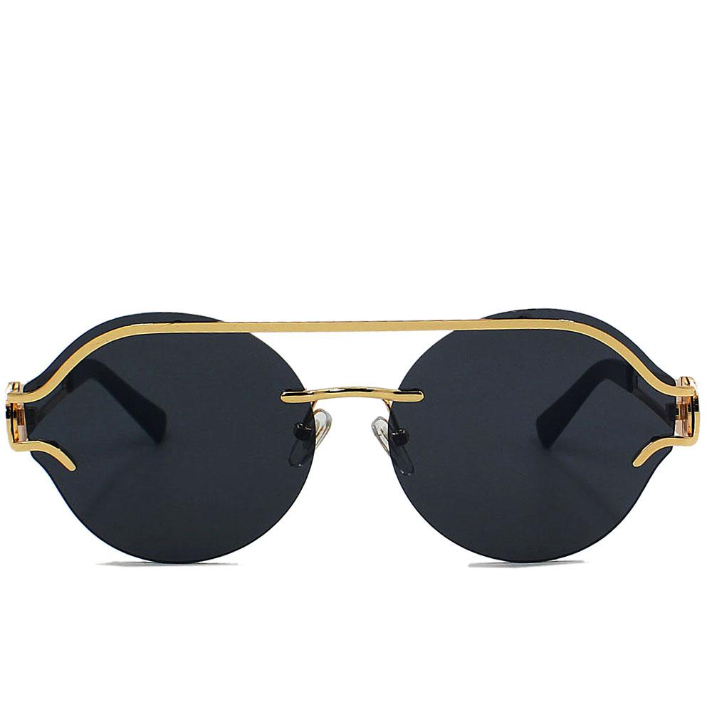 Gold Round FRimless Wide Fit Sunglasses