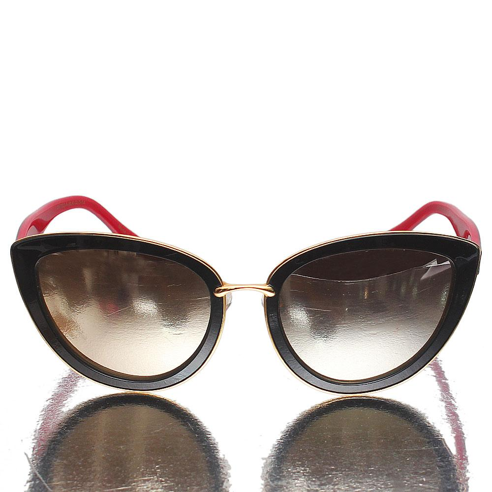 Black Red Plastic Cat Eye Gold Polarized Lens Sunglasses