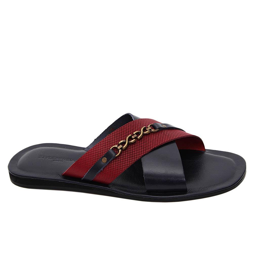 Navy Burgundy Lorenzo Italian Leather Slippers