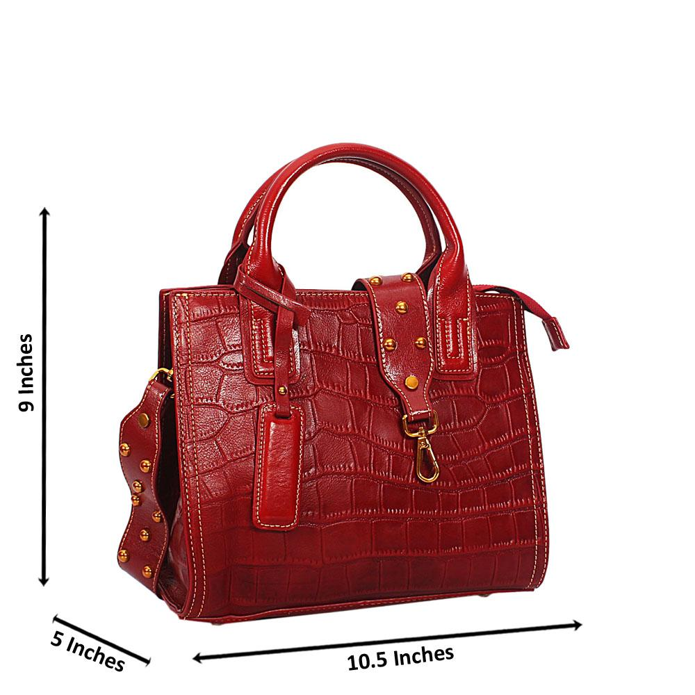 Sloan OxBlood Croc Shining Montana Leather Tote Handbag