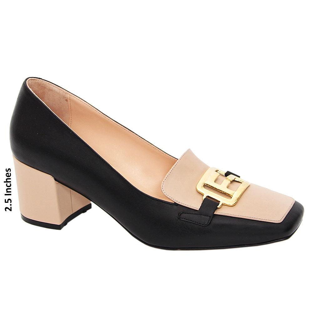 Black Nude Ginevra Tuscany Leather Mid Heel Pumps