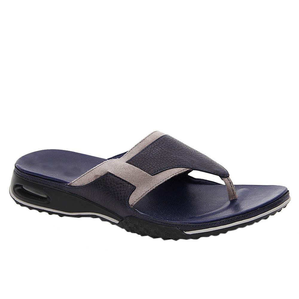 Navy Gray Alfie Mix Leather Comfort Slippers