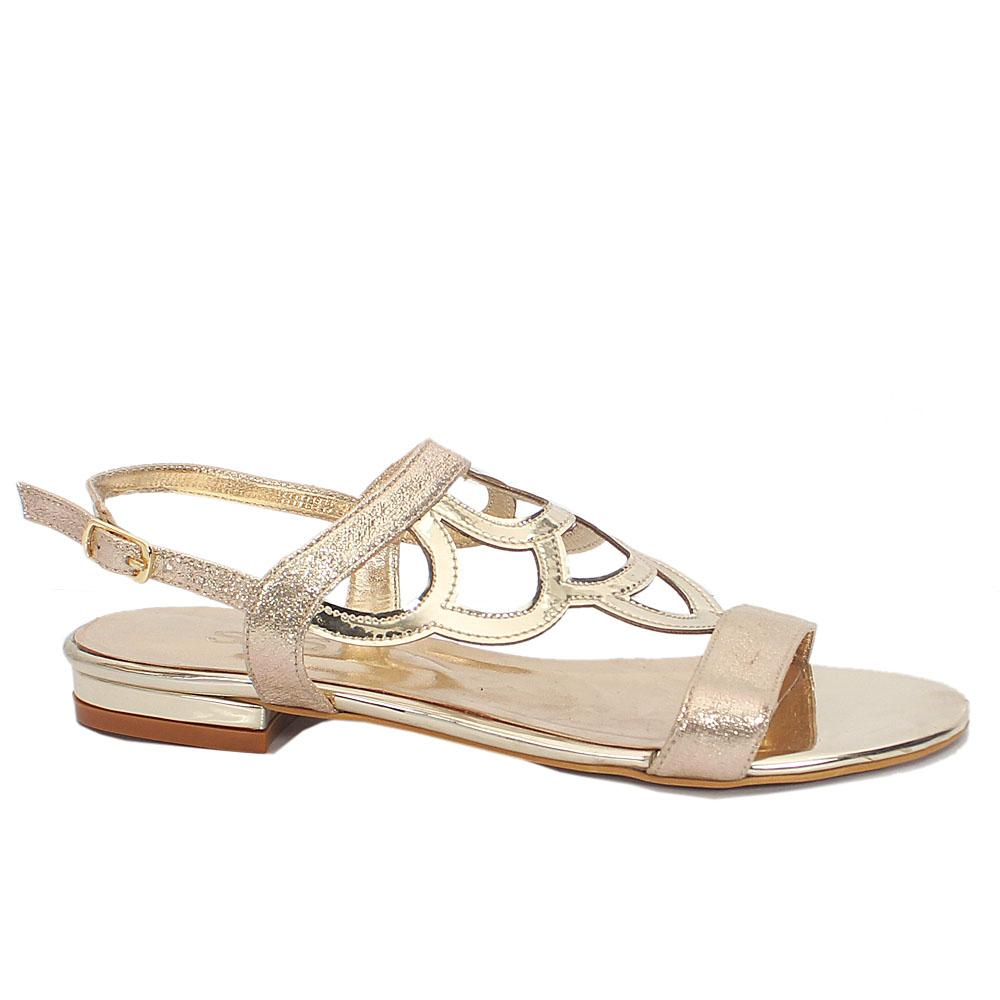 Abril Gold Shimmering Leather Open Toe Flat Ladies Sandals Wt Buckle