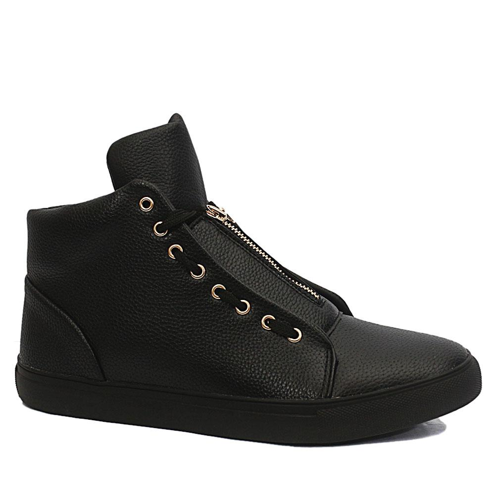 Black Dustin Leather High Top Sneakers