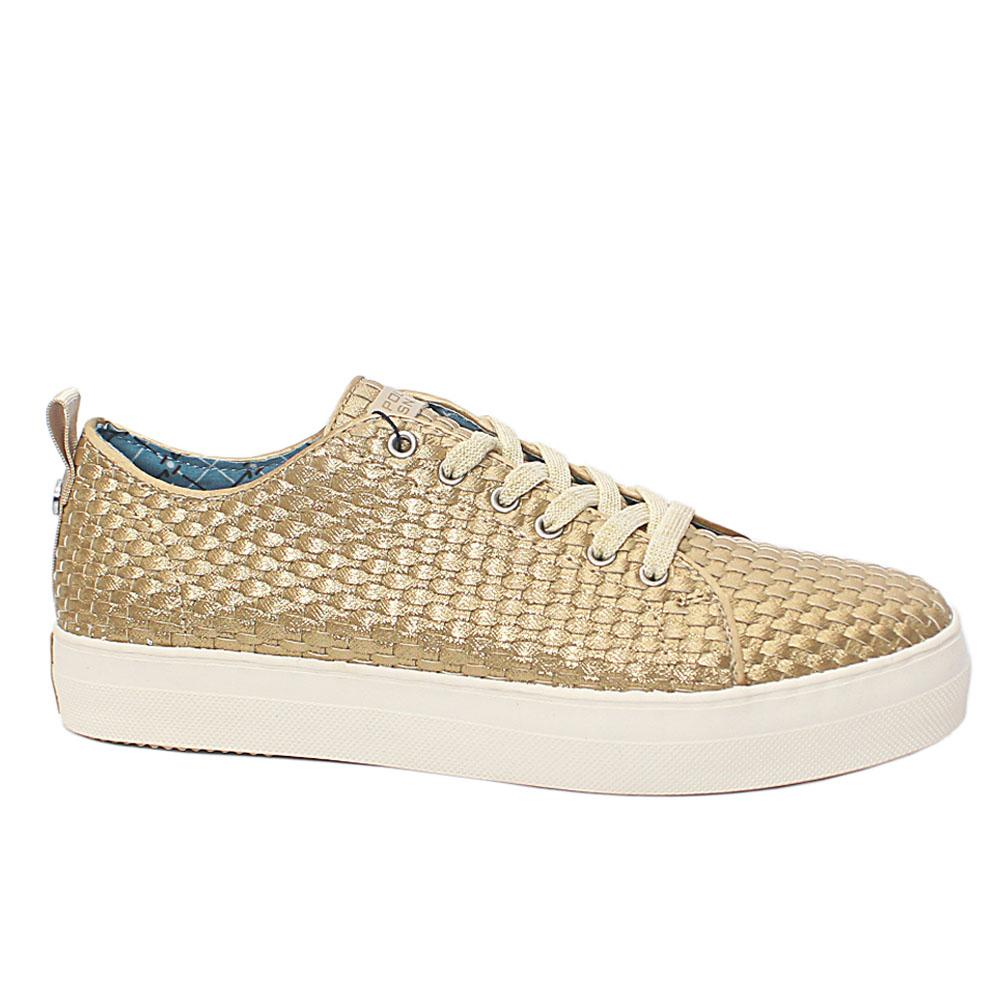Gold Woven Leather Ladies Sneakers