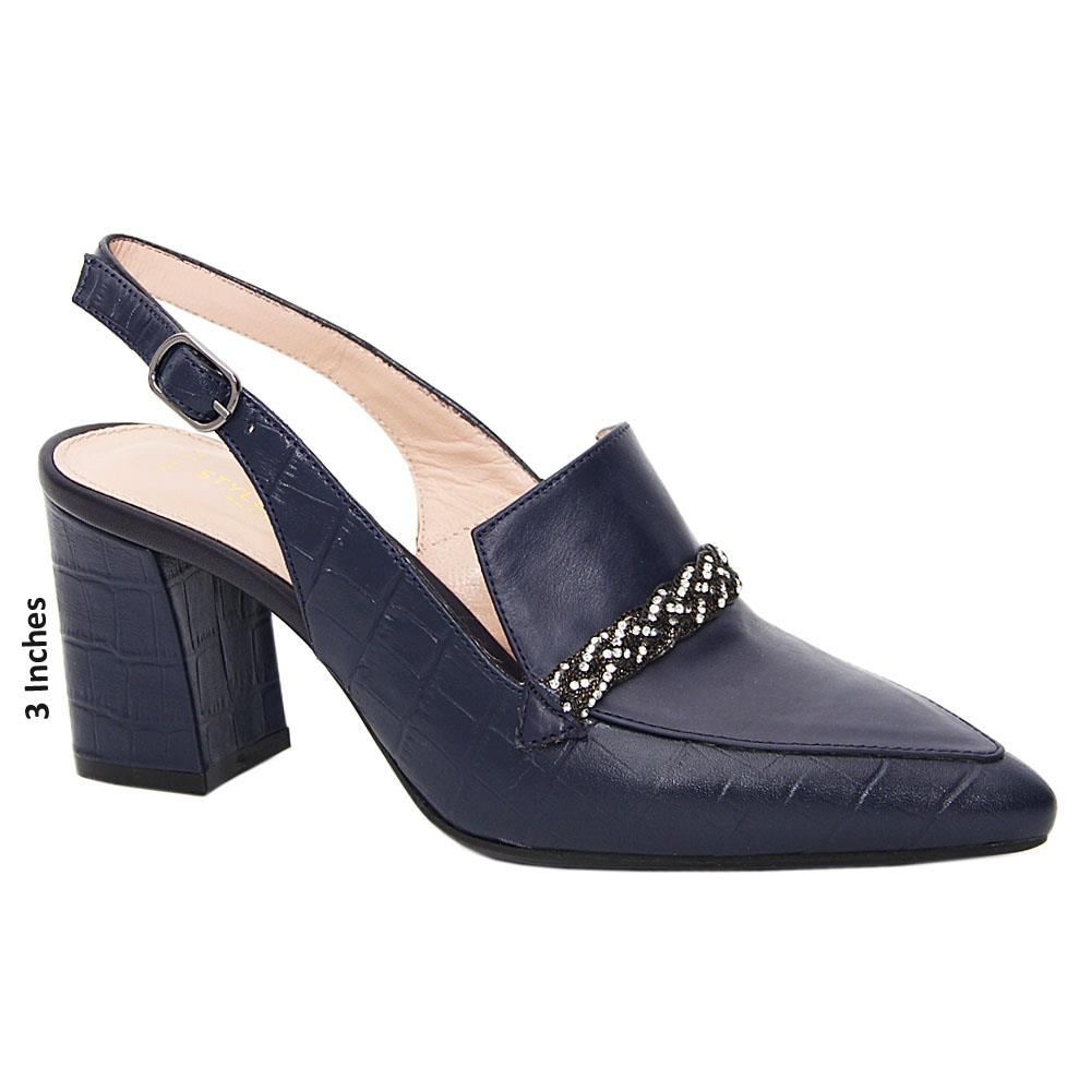 Dark Navy Mila Tuscany Leather Mid Heel Slingback Pumps